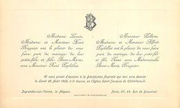 VP-GF.18.T-354 : FAIRE PART DE MARIAGE 1922 FAMILLES LENAIN BRAGUIER PELLERIN POPHILLAT - Mariage