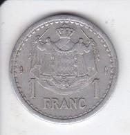 MONEDA DE MONACO DE 1 FRANC DEL AÑO 1944 (COIN) LOUIS II - Mónaco