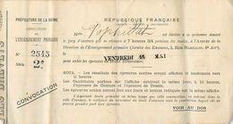 VP-GF.18.T-355 : CONVOCATION AU BREVET ELEMENTAIRE. COUTURE DESSIN - Diplômes & Bulletins Scolaires