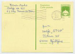 SLOVENIA 1992 4.00 T.  Arms  Postal Stationery Card, Used.  Michel P1 - Slovenia