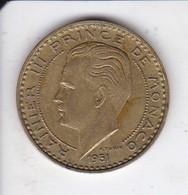 MONEDA DE MONACO DE 20 FRANCS DEL AÑO 1951 (COIN) RAINIER III - Mónaco