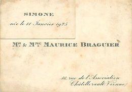 VP-GF.18.T-358 : FAIRE-PART DE NAISSANCE SIMONE  BRAGUIER 1925 CHATELLERAULT - Naissance & Baptême
