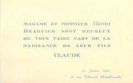 VP-GF.18.T-360 : FAIRE-PART DE NAISSANCE CLAUDE BRAGUIER. CHATELLERAULT 12 FEVRIER 1935 - Naissance & Baptême