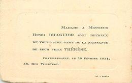 VP-GF.18.T-361 : FAIRE-PART DE NAISSANCE THERESE BRAGUIER. CHATELLERAULT 20 FEVRIER 1931 - Naissance & Baptême