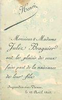 VP-GF.18.T-363 : FAIRE-PART DE NAISSANCE HENRI BRAGUIER INGRANDES SUR VIENNE 13 AVRIL 1903 - Naissance & Baptême