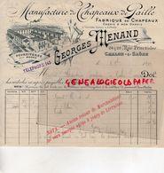 71- CHALON SUR SAONE- FACTURE GEORGES MENAND- MANUFACTURE CHAPEAUX PAILLE-CHAPELLERIE-24 RUE FRUCTIDOR-1904 - Textile & Vestimentaire