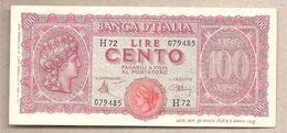 """Italia - Banconota Circolata SUP Da 100 Lire """"Italia Turrita"""" P-75a - 1944 - [ 1] …-1946 : Kingdom"""