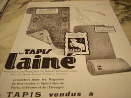 ANCIENNE PUBLICITE LES TAPIS DE LAINE JANUS 1929 - Publicités