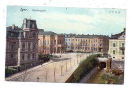 BÖHMEN & MÄHREN - EGER / CHEB, Theaterplatz, Kl. Klebereste Rückseitig - Böhmen Und Mähren