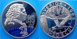 SWEDEN 20 E 1995 ARGENTO PROOF SILVER SVERIGE CARL VON LINNE 1707-78 PESO 27g TITOLO 0,925 CONSERVAZIONE FONDO SPECCHIO - Svezia