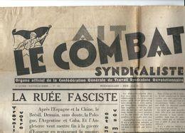 1937,LE COMBAT SYNDICALISTE, Organe Officiel De La Confédération Générale Du Travail Syndicaliste Rev. 19 Nov 1937 - Journaux - Quotidiens