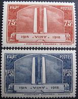 Lot FD/1132 - 1936 - VIMY - N°316 à 317 NEUFS** - Cote : 72,00 € - France