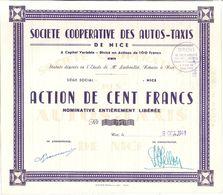 SOCIETE COOPERATIVE DES AUTOS-TAXIS DE NICE -ACTION DE CENT FRANCS -1949 N°676 - Automobile