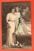 GBM-10 Bonne Fête Sainte-Catherine, Jeune Femme, Fillette, Colombes Et Bouquet De Fleurs. Circulé 1913 - Sainte-Catherine
