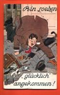 GBM-15 Illustrateur Inconnu, Bin Soeben Glücklich Angekommen, Parapluie. Circulé 1913 - Illustrateurs & Photographes