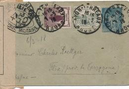 Entier Postal Sage Orphelin Lyon Pour Flix Catalunya Censure - Marcophilie (Lettres)