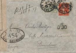 Lettre Semeuse Lyon Pour Barcelone Catalunya Censure + Taxe - Marcophilie (Lettres)