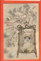 GBM-18  Joyeuses Pâques, Jeune Femme Et Oeufss. Circulé 1905 - Pâques