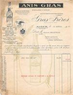 Lettre - Facture - ALGER -1937 - GRAS FRERES - ANIS GRAS Distillerie à Vapeur - France