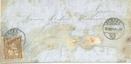 Lokales Brieflein  Sursee - Willisau             1868 - 1862-1881 Helvetia Seduta (dentellati)