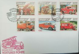 L) 2001 CAMBODIA, FIRE TRUCK, CAR COLLECTION, OLD CARS, MULTIPLE  STAMPS, RED, FDC - Cambodia