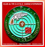 SUPER PIN'S CLUB De TIR : C.E.P.A.C Club INTERNE De La CAISSE D'EPARGNE En émail Cloisonné Or, Diamètre 2,5cm - Pin