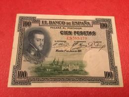 100PESATAS 1925 ( TTB) - [ 1] …-1931 : First Banknotes (Banco De España)