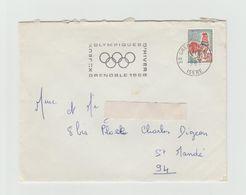 """LSC 1957 - GRENOBLE (Isère) - Flamme """" Jeux Olympiques D'hiver Grenoble 1968"""" - Marcophilie (Lettres)"""
