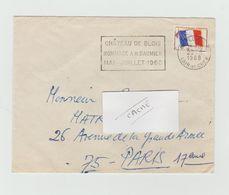 """LSC 1968 - BLOIS (Loir Et Cher ) - Flamme """" Chateau De Blois  Hommage à H.DAUMIER Mai-juillet 1968"""" + Timbre F.M. - Marcophilie (Lettres)"""