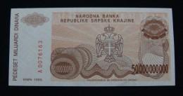 CROATIA *REPUBLIKA SRPSKA KRAJINA* 50,000,000,000 DINARA 1993. PICK-R29, UNC. SERIAL# 0076163 - Croatia