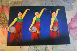 KOREA NORTH 1970s  Postcard - Dance With Tambourine - Korea, North