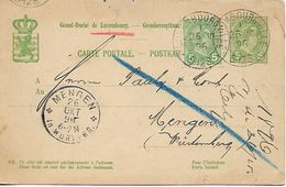 LUXEMBOURG 1896 PC Posted 2 Stamps, REDIRECTED USED - 1895 Adolphe Right-hand Side