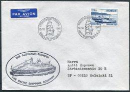 1981 Norway M/S ALEXANDR PUSKIN, Baltic Shipping Cover. Tall Ships - Norwegen