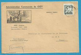 924 Op Brief ADMINISTRATION COMMUNALE De OIZY Met Stempel BIEVRE - 1953-1972 Glasses