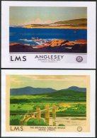 2 X LMS Railway Poster Postcards Menai Bridge Anglesey - Anglesey