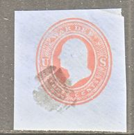 US CUT  SQUARE  U O 54  WAR  DEPT.     (o)   1875  ISSUE - Postal Stationery