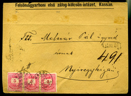 92533 KASSA 1876. Ajánlott, Levél 3*5kr Nyíregyházára  /  KASSA 1876 Reg. Letter 3*5 Kr To Nyíregyháza - Used Stamps