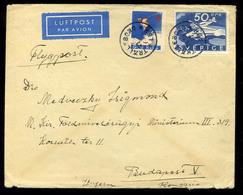 92534 SVÉDORSZÁG 1937. Szép Légi Levél Budapestre Küldve - Covers & Documents