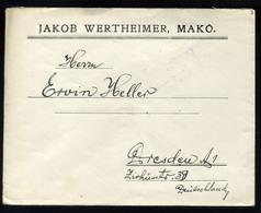 92538 MAKÓ 1929. Céges Levél Szent István 2*16f-rel Drezdába, Jakob Wertheimer - Hungary