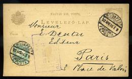 92545 BUDAPEST 1892. Kiegészített Díjjegyes Lap Párizsba Küldve, Killián Könyvkereskedés, Hátoldali Céges Nyomással - Postal Stationery