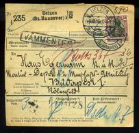 92554 NÉMETORSZÁG 1916. Uelzen, Csomagszállító Budapestre Küldve , Katonai Címre - Germany