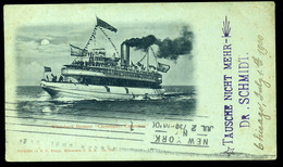 92432 USA 1900. Steamer Colombus , Képeslap Resicára Küldve - United States