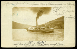 """92422 NÉMETORSZÁG 1899. PASSAU """"Mars """" Hajó, Fotós Képeslap Budapestre Küldve - Passau"""