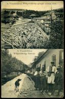 76305 VASAKŐFALVA /Pietroasa; Willgerodt-telep Gerepje úsztatás Után és Fő Utca Régi Képeslap / Saw Mill, Main Street - Hungary