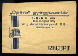 92500 BUDAPEST VI Andrássy út . Opera Gyógyszertár , Pharmacy, Vintage Receipt Cov. - Old Paper