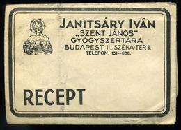 92499 BUDAPEST Szent János Gyógyszertár, Régi Recept Boríték , Széna Tér 1 / BUDAPEST St János Phrmacy, Vintage Receipt  - Old Paper
