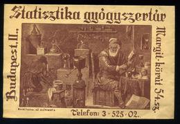 92501 BUDAPEST Statisztika Gyógyszertár, Régi Recept Boríték , Margit Körút 54 / BUDAPEST Statistics Pharmacy Vintage Re - Old Paper