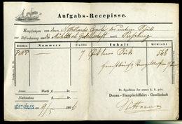 92496 1866. Dekoratív D.D.S.G. Aufgabs-Recepisse , Kék Körtvélyes Bélyegzéssel - 1850-1918 Empire
