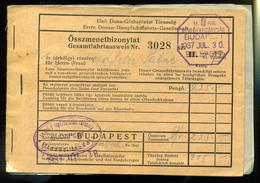 """92507 1937. D.D.S.G. Hajójegy """"Öszmenetbizonylat"""" Istanbulba , Többféle Hajó Bélyegzéssel! - Old Paper"""