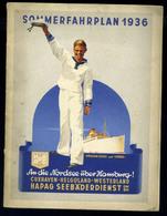 92508 HAPAG Sommerfahrplan 1936. 32 Oldalas Ismertető Sok Fotóval - Old Paper